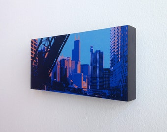Chicago River II--12x6 archival print mounted on precision crafted wood panel