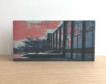 State and 34th (Crown Hall) 12x6 precision crafted wood panel print