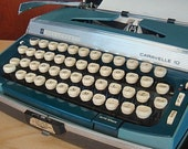 Penncrest Caravelle 10 Vintage Two Tone Blue Manual Typewriter With Case by JC Penny
