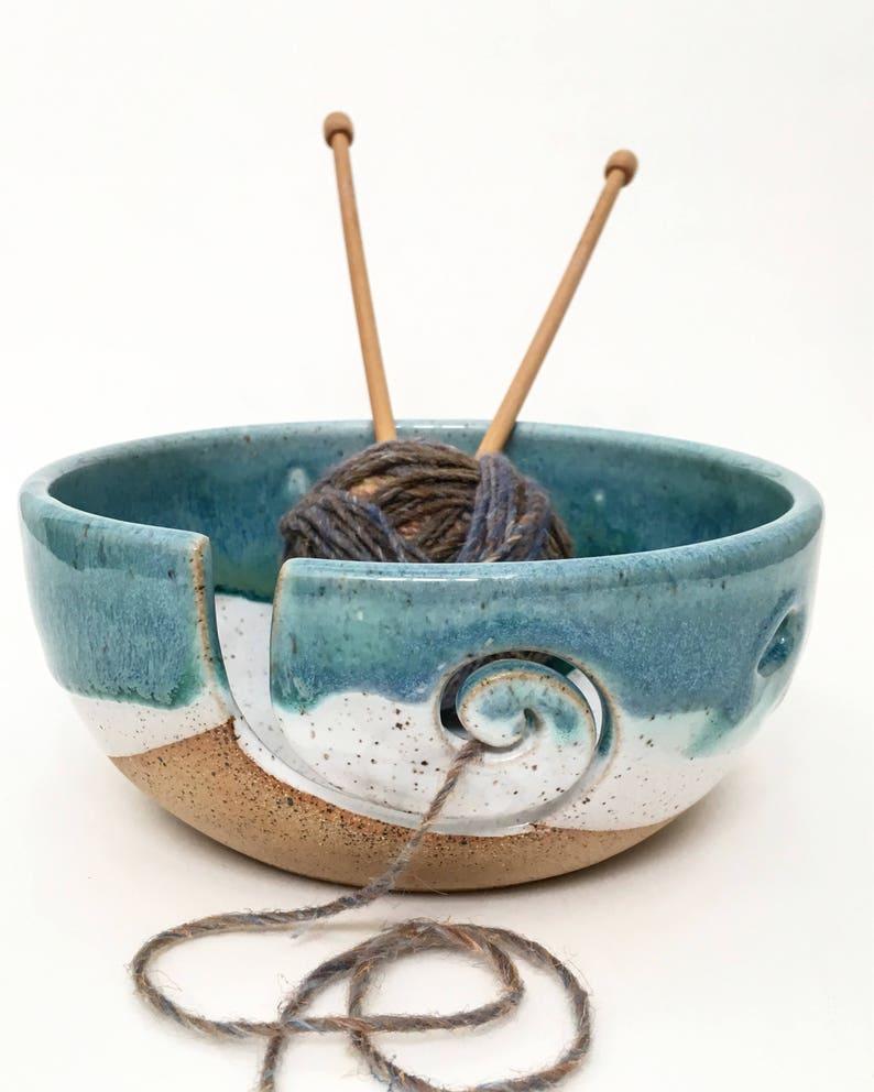 Mediterranean Breeze   Wheel Thrown Yarn Bowl  MADE TO ORDER image 0