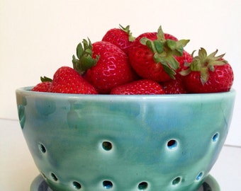 Forest Green  Berry Bowl Colander - Medium Size - MADE TO ORDER