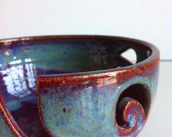 Burgundy Rustic Spiral Ceramic Wheel Thrown Yarn Bowl - MADE TO ORDER