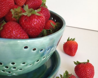 Large Berry Bowl - Colander - Forest Green - MADE TO ORDER