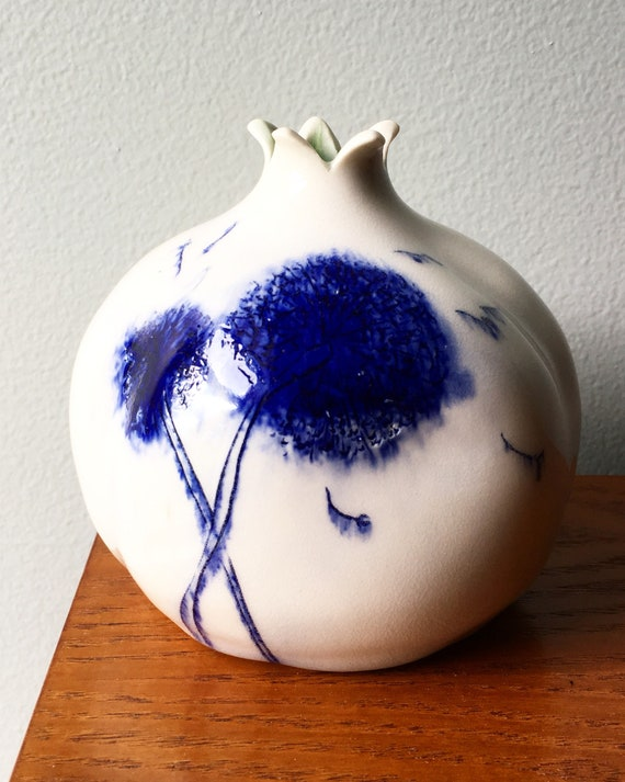 Porcelain Pomegranate Vase With The Hand Drawn Dandelion Etsy