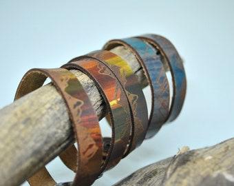 MOUNTAIN Leather Cuff, Thin, Leather cuff, leather bracelet, unisex leather cuff, men's, women's, kids, graduation gift