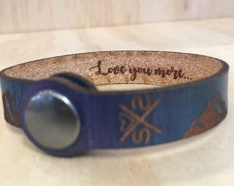 CUSTOM ENGRAVE Mountain Leather Cuff, For Mother's Day, Thin, Leather cuff, leather bracelet, Pacific Northwest, CUSTOMIZABLE