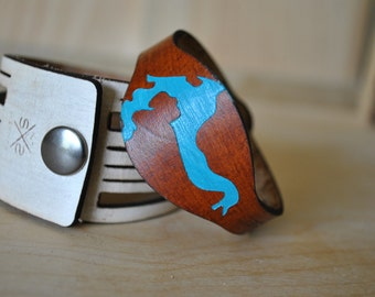 Lake Pend Oreille, ID leather cuff | sandpoint idaho | idaho | customizable gift | christmas gift