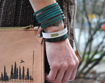 ARROW | aztec design | women | thin | Leather Bracelet | Cuff | Gift for anyone