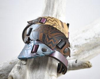 FEATHER | leather feather cuff | leather bracelet unique design