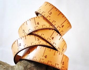 Leather tape measure, Single bracelet, tape measure accessory, woodwork, teacher, student, designer, maker, knitter