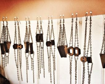 Wood Earrings | Simple shapes | gunmetal chain | graduation gift