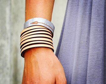 Leather WRAP | cuff women laser cut hand dyed veg tan leather