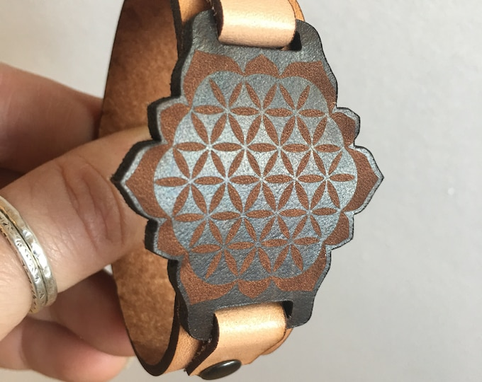 SACRED geometry | flower of life | bracelet | Leather Bracelet | Jewelry | Gift for Her