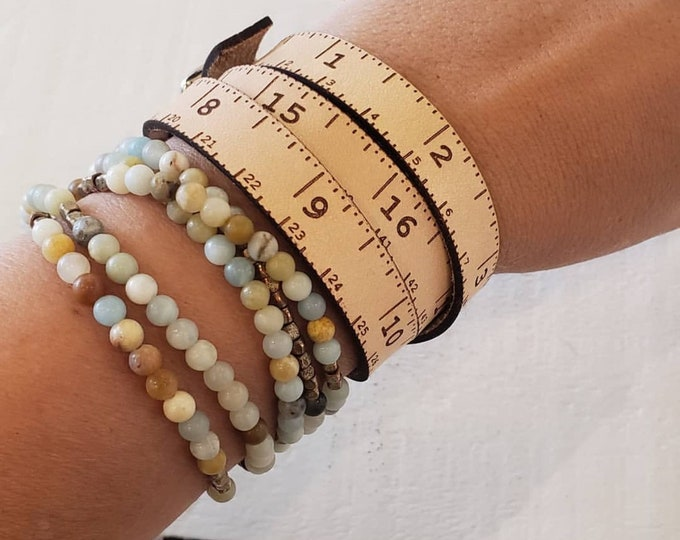 "*Leather tape measure wrap bracelet 22"" total*"