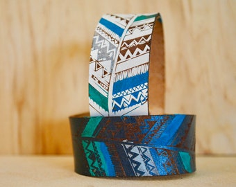 FEATHER LEATHER CUFF | aztec design, gift, birthday gift, leather bracelet