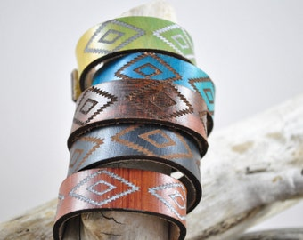 AZTEC | Leather | Tribal Leather cuff