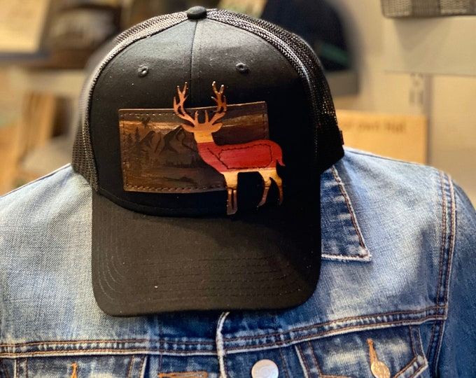 Mountain scene with deer leather HAT Patch OTTO hat
