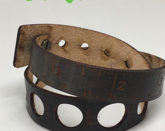 "Leather tape measure with gauge measurement, double wrap bracelet, sewing, knitting, crochet, woodwork, teacher, student, designer, 16.5"""