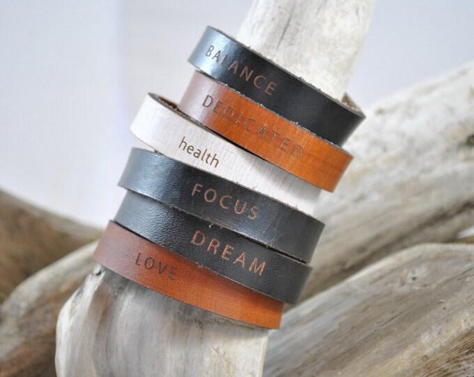 WORDS   THIN   women's cuff   Leather Bracelet   Leather Cuff   Inspirational Words Bracelet   Gift   Leather Jewelry