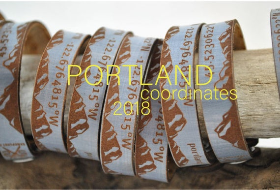 PORTLAND OR coordinates Leather Cuff, Latitude & Longitude, Thin VegTan Leather unisex leather cuff, women's, wander