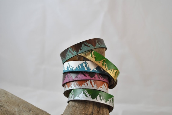 PAINTED MOUNTAIN Leather Cuff, Thin, Leather cuff, leather bracelet, unisex leather cuff, men's, women's, graduation gift