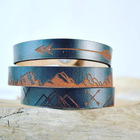 MOUNTAIN MAN thin leather cuff
