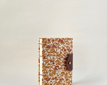 Brown, Burgundy and White Hand Bound Coptic Journal with Lined Pages, Hardcover Coptic Journal