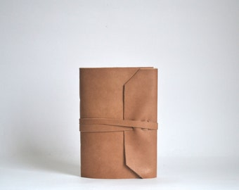 Light Brown Leather Journal, Blank Leather Notebook, Hand Bound Leather Wrap Around Journal