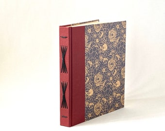 Black and Brown Floral Handbound Journal, Brown, Black & Burgundy Starburst Album, Hardcover Sketchbook