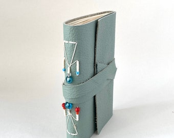 Dusty Mint Leather Journal with Beads Pocket Size, Hand Bound Leather Wrap Around Journal, Teal Blank Notebook