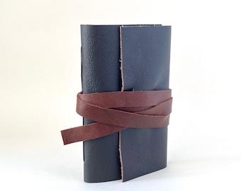 Black Leather Journal with Brown Tie Pocket Size, Dark Brown Hand Bound Leather Wrap Around Journal, Black Blank Notebook