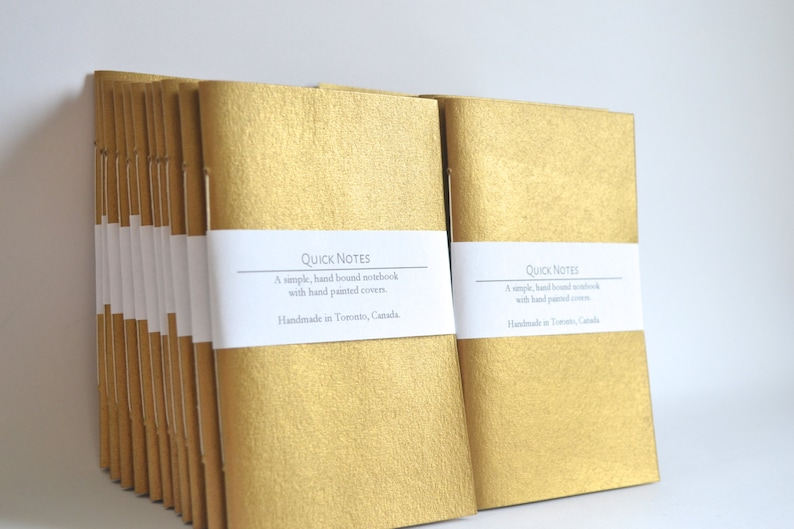 Gold Painted Soft Cover Notebook Hand Bound Journal Quick image 0