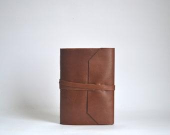 Brown Leather Journal, Hand Bound Leather Wrap Around Journal, Medium Brown Blank Notebook