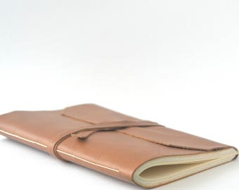 Light Brown Leather Journal Medium Size, Blank Leather Notebook, Hand Bound Leather Wrap Around Journal