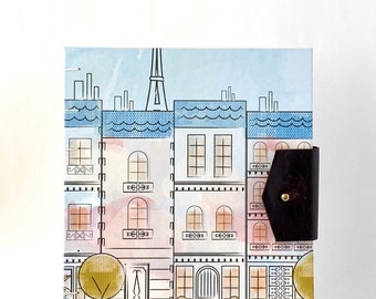 Whimsical City Street Handbound Journal, Large Hard Cover Journal with Reclaimed Leather Closure, Paris Hardcover Blank Book