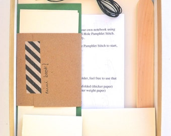 Green & White Bookbinding Kit, Make 2 Basic Soft Cover Notebooks plus 1 Mini Book