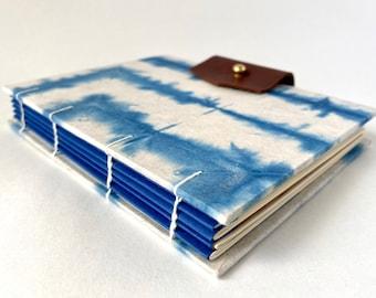 Blue & White Hand bound Journal, Hand Dyed Indigo Shibori Sketchbook, Hardcover Blank Book