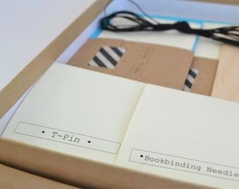 DIY Bookbinding Kit in Blue & Black, Make 2 Basic Soft Cover Notebooks plus 1 Mini Book