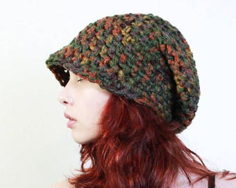 SET Fall ombre Rasta love slouch wool hat chunky sage cranberry amber burnt orange