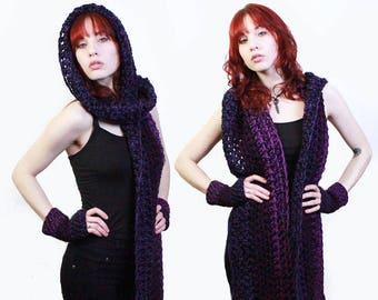 The KISS open end fringe long cowl hood scarf Vegan Purple Haze eggplant black