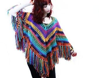 Poncho crochet boho gypsy tons of fringe rainbow blue orange yellow