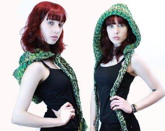 NEW comet hood scarf elfin festival vegan tassel fringe forest green sage