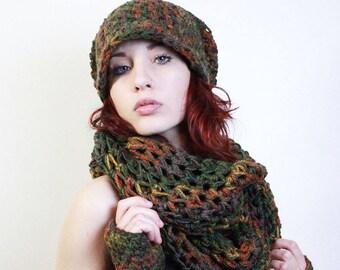 SET Rasta Slouch hat fingerless gloves Ombre Wool Cowl scarf eggplant sage green amber burnt orange