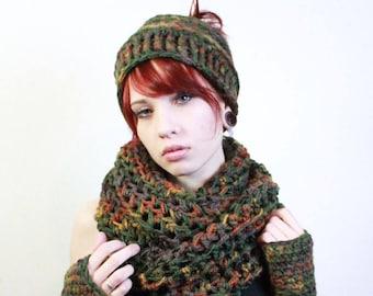 SET Messy Bun Pony Tail hat Beanie fingerless gloves Ombre Wool Cowl scarf eggplant sage green amber burnt orange