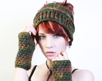 SET Fall ombre Messy Bun pony Tail Beanie hat fingerless gloves chunky sage cranberry amber