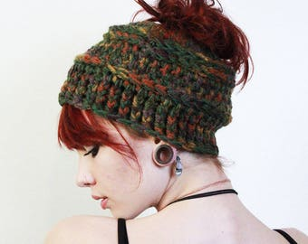 Fall ombre messy bun Tam hat tuque chunky pony tail beanie sage cranberry amber