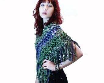 Poncho crochet boho gypsy shawl wrap fringe sage green purple M