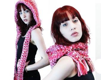 NEW comet hood scarf elfin festival vegan tassel fringe pink nude blush