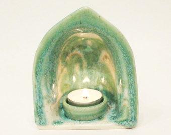 Manifest your intentions meditation yoga altar candle holder clay decor Aqua Green