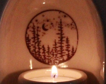 Manifest your intentions meditation yoga altar candle holder clay decor ivory Tree line Moon